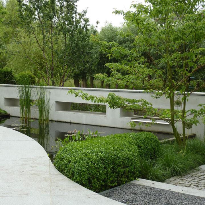 Tuin bij moderne villa