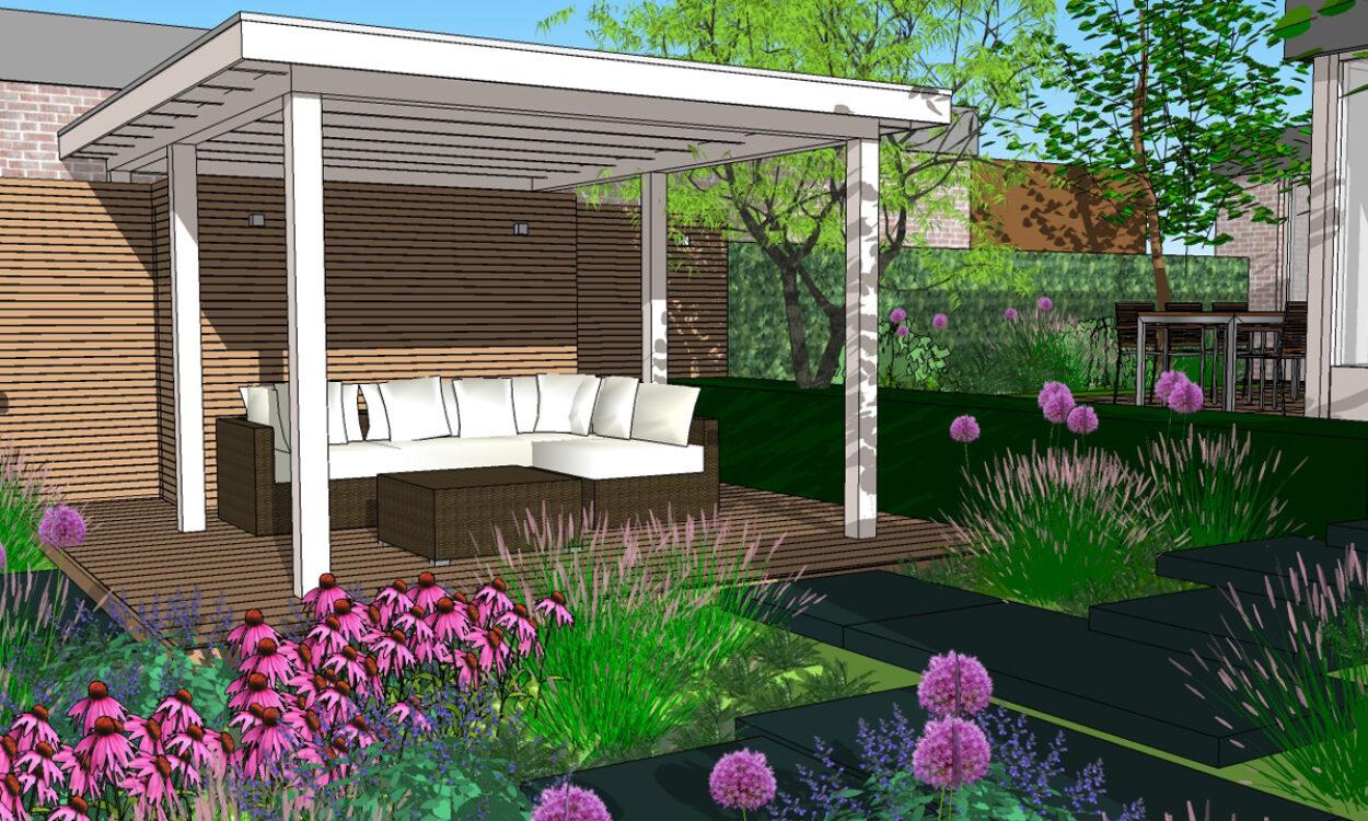 3-D Impressie 1. Tuin met robuuste traptreden