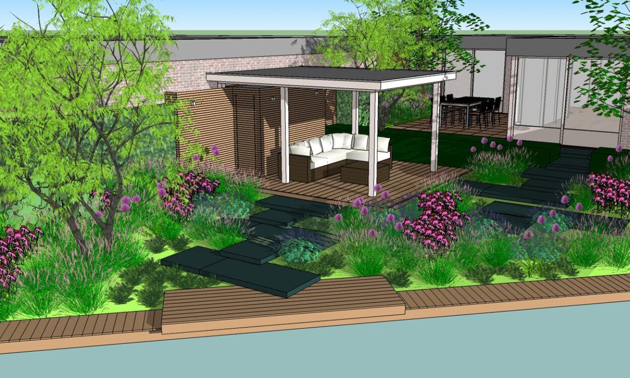 3-D Impressie 2. Tuin met robuuste traptreden